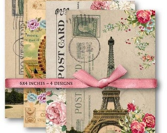 Digital Images - Digital Collage Sheet Download - French Eiffel Tower Postcards -  501  - Digital Paper - Instant Download Printables