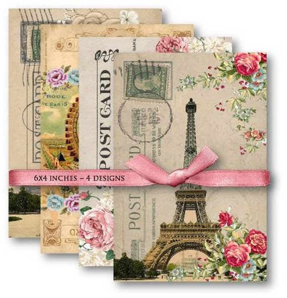 Digital Collage Sheet Download - French Eiffel Tower Postcards -  501  - Digital Paper - Instant Download Printables