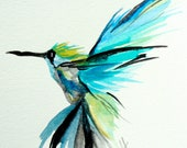 Hummingbird, flight, tropical, blue, lime, bright, original watercolor painting 5 x 7