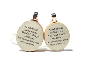 Best friend necklace set wood jewelry best friend gift nature lover gifts reclaimed wood gift friendship gift, best friends