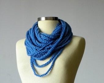 Crochet Infinity chain scarf, necklace, Blue -handmade neckwarmer autumn -winter women accessories, fall - winter fashion