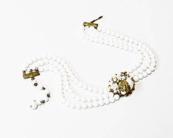 1940s necklace czech milk glass triple strand flower floral medallion beaded brass choker collar