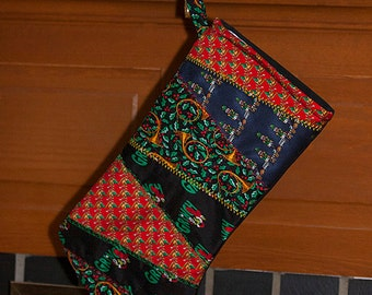 Patchwork Christmas Stocking, Embroidered Silk Ties, Gifts for Men, Handcrafted Stocking, Nutcracker, Gifts under 25