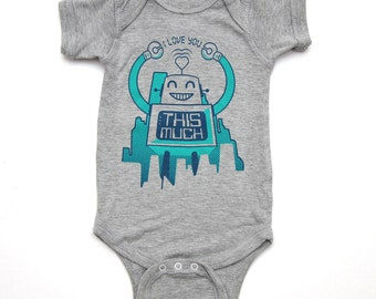 Robot Onesie I Love You This Much
