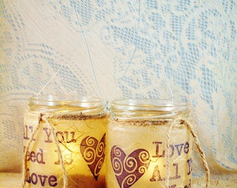 """8 Hanging Candle Jar,  """"All You Need is Love"""", Wedding Lighting, by Green Orchid Design Studio"""