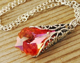 Red Orange Crystal Necklace -  Swarovski Crystal Pendant Necklace - Silver Victorian Necklace - Sterling Silver Chain