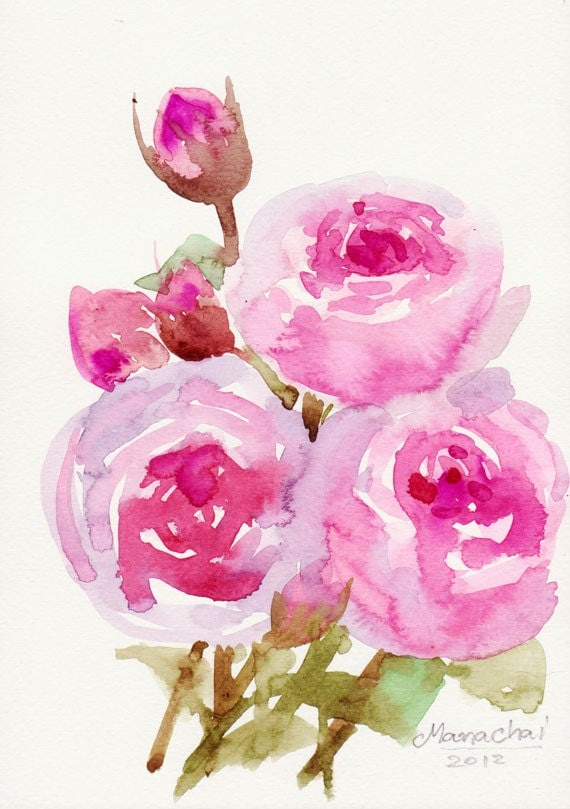 Art Painting For Sale Original Watercolor Flower On Cotton