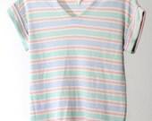 Multi Pastel Striped 80s V-Neck Shirt