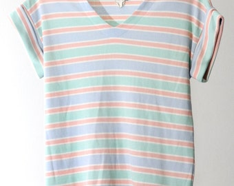 Multi Pastel Striped 80s V-Neck Shirt