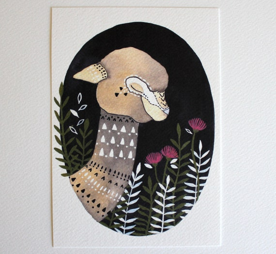 Alpaca Illustration Painting - Watercolor Art - Archival Print - Wren the Wandering Alpaca