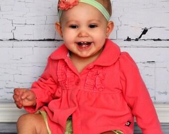 Coral & Mint Headband -  Photo Prop - Newborn Infant Toddler Girls Adult Wedding Pastel Green Baby Headband