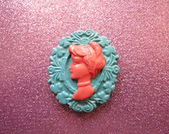 Cinderella cameo Brooch/Pendant (blue and pink)