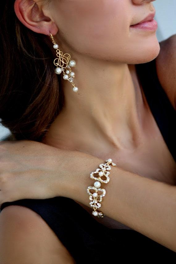 Bella Maria Gold and Pearl Bridal earrings