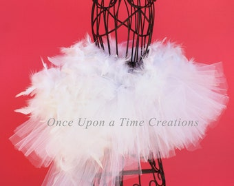 Ready To Ship Swan White Feather Bustle Tutu - All Sizes - Girls Newborn 6 Month 12M 2T 3 4 5 6 7 8 10 12 Adult - Duck Halloween Costume