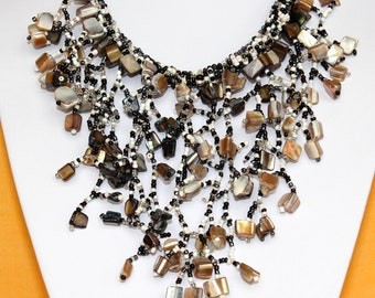 Black Agate Necklace Funky Fusion  Ethnic Egyptian African Design with Modern Flare. Black and White Beads. Chunky Choker. MapenziGems. DB13