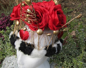 Upcycled Clothing Red Queen Crown Alice in Wonderland Queen of Hearts Crown