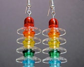 Rainbow and clear earrings with silver plated ear wires