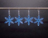 LAST PAIR: Ice blue snowflake earrings, silver plated ear wires