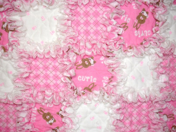 Baby Girl Bunny Rag Quilt Throw Blanket - Pink, White, Plaid - Baby Bunny - Flannel