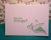 Set of 5 Hand Stamped Sea Turtle Cards, how are things