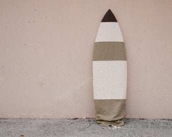 Surfboard Bag Surf Bag Board Cover // Natural Khaki Canvas Stripes