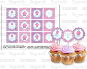 Printable DIY Pink and Purple Cupcake Theme Personalized Happy Birthday Cupcake Toppers