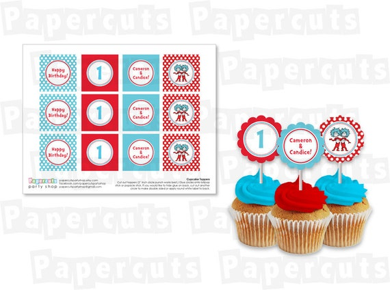 Personalized Printable DIY Dr. Seuss Thing 1 and Thing 2 Twins Happy Birthday Cupcake Toppers