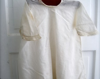 Vintage Baby Night Gown, Creamy White, Cottage Style