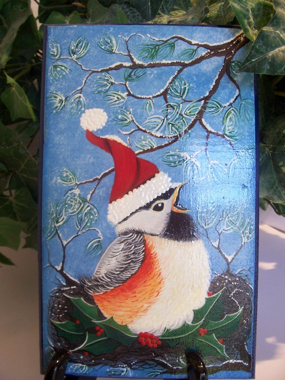 Christmas, Holiday, Wall Hanging, Chubbie, Baby, Bird, Plaque, Tole, Hand Painted,  Original Design,