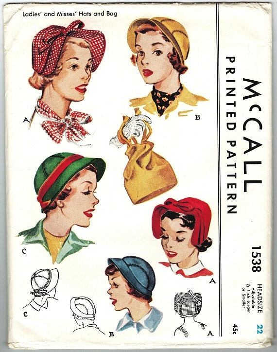 McCall 1538 Vintage 50s Hats and drawstring Purse sewing pattern UNCUT and FACTORY FOLDED One Size Adjustable