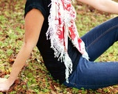 Red Floral Jersey Scarf with Lace- Red & Cafe Fabric Scarf with Fringe- Floral Fabric Scarf- Lace Scarf- Fashion Scarf