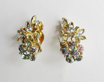 Vintage Clip on Rhinestone Earrings