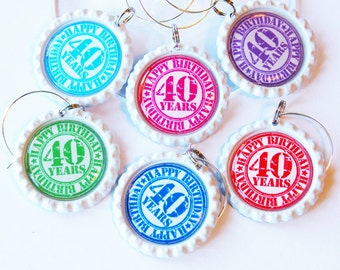 40th Birthday, 40th charms, Wine Glass Charms, Wine Charms, Bottlecap wine charm, Forty, 40th, birthday