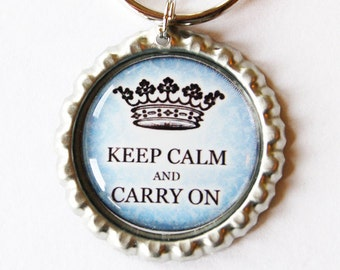 Keep Calm key chain, keychain, key ring, key chain, keyring, blue, keep calm keychain, keep calm carry on