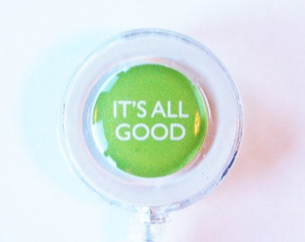 Its all good, ID Badge Holder, Retractable id, Badge clip, Name Tag, id badge clip, green