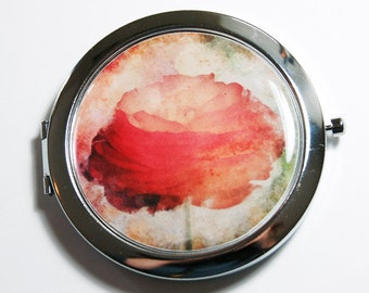Floral compact mirror, pocket mirror, compact mirror, Flower, mirror, gift for her, mirror for purse, red flower (2703)