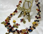 Wire Crochet Beaded Necklace Set in Red, Gold and Blue, Fleur de Lis jewelry, handmade beadwork necklace