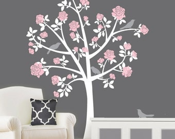 Tree Wall Decals - Chinoiserie Rose Tree - Flower Girl Nursery - Removable Sticker Wall Mural - Rose Tree from Apartment Therapy