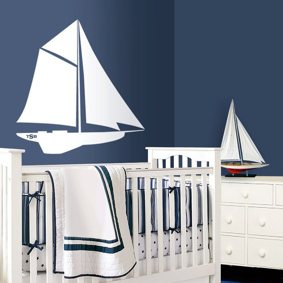 sailboat nautical nursery art nursery wall decals sea. Black Bedroom Furniture Sets. Home Design Ideas