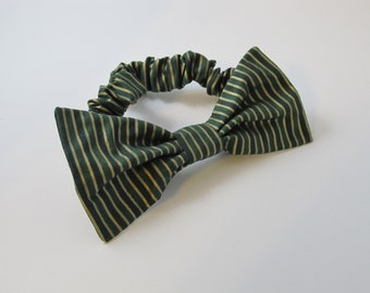 Green and Gold Striped Holiday Christmas Bow Tie Collar For Your Dog - Great Gift or Stocking Stuffer