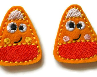 Smiling Candy Corn felt feltie Embroidery design