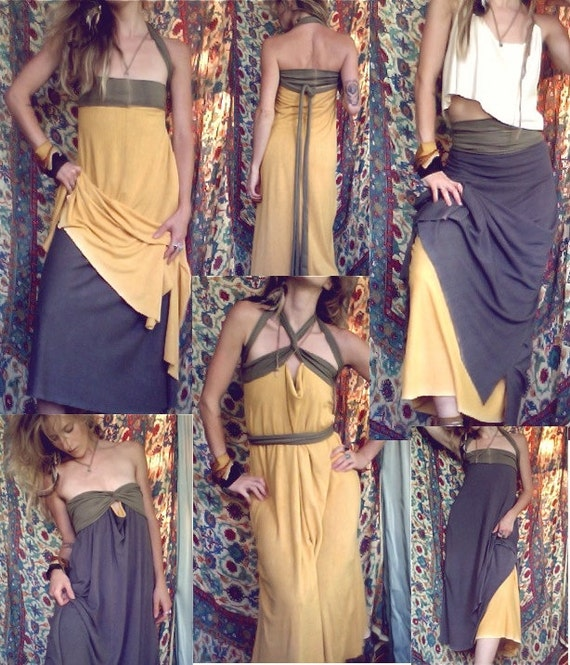 foreign one. convertible reversible travel dress. organic bamboo hemp blend.  hand-dyed color.  'made to order'