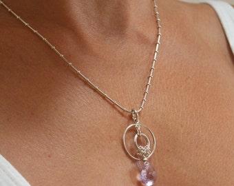 Amethyst  Necklace . February Birthstone