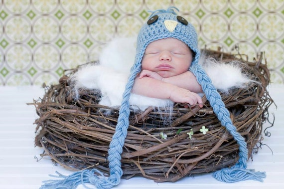 Newborn Bird Hat, Blue Bird Hat, Newborn Photo Props, Spring Photography Props, Baby Animal Hats, Bird Hat for Baby Boys or Baby Girls
