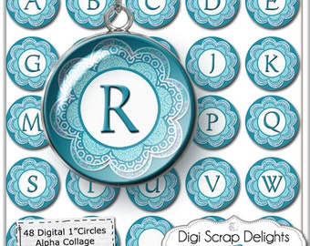 Digital Collage Sheet Alphabet One Inch Circles-  Aqua Blue Flower - Pendants, Magnets, Hair Bows, Instant Download