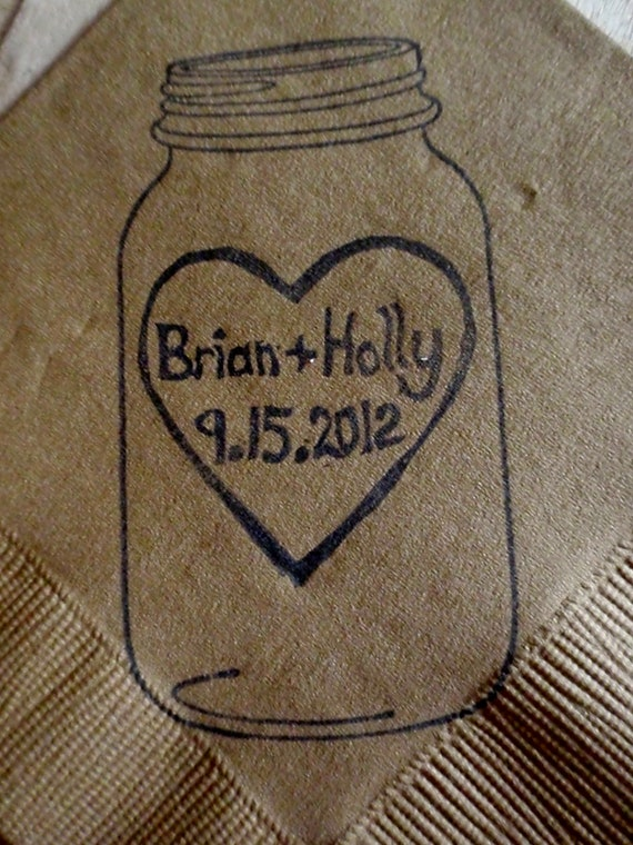 Personalized Heart Stamp with Couples Names and Date