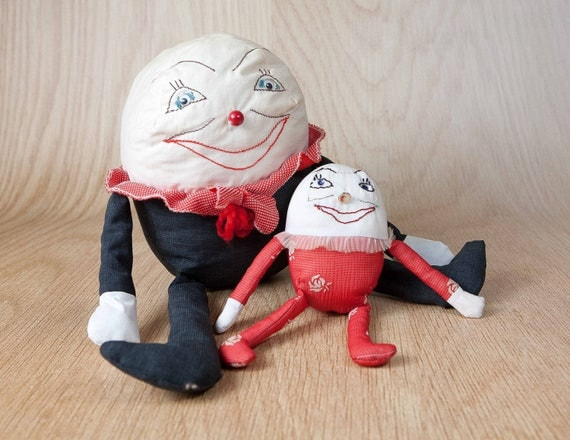 Vintage Folk Art Humpty Dumpty Handcrafted Dolls, Embroidered faces, Button noses, handmade from scrap fabric..