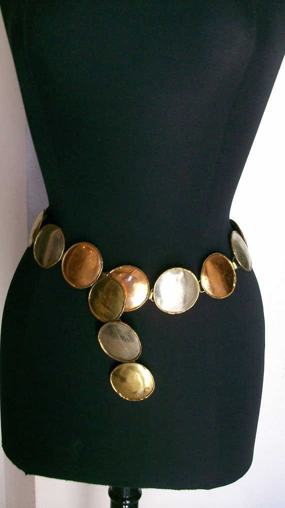 Vintage Mexican disc links belt in bronze, copper and silver for waist or hips
