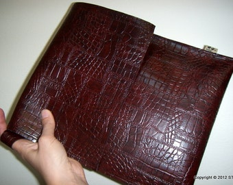 AUTUMN SONATA -cover bag/clutch bag for small electronics, eg ebook readers, iPads, artificial/ vegan leather, Handmade in FINLAND