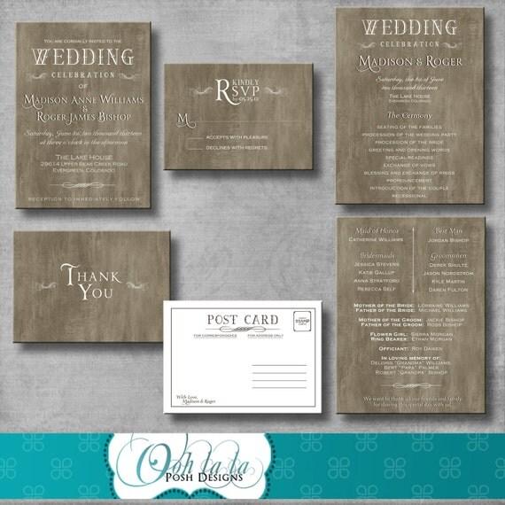 Rustic Elegant Wedding Invitation, Response Card, Wedding Program, Thank You Card - DIY - Printable - CUSTOMIZABLE - Digital